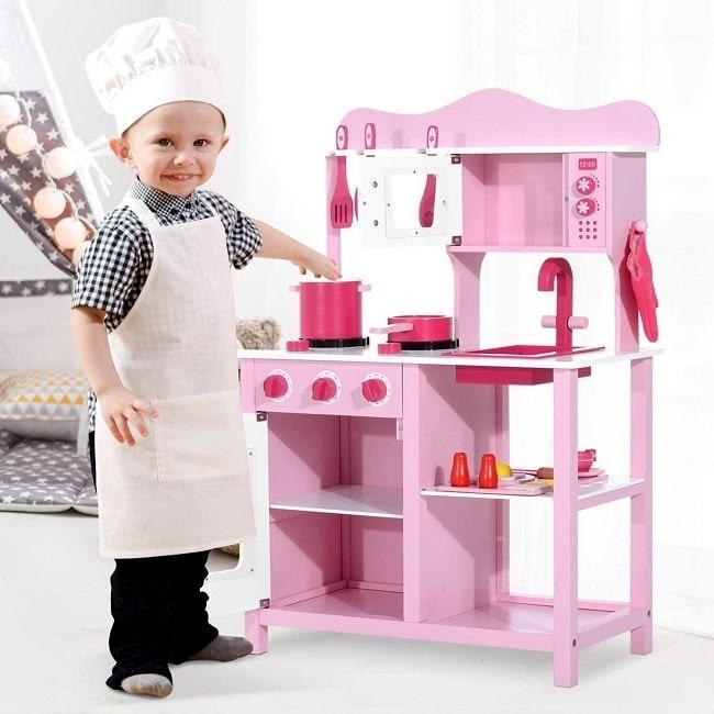 chef de cocinilla de juguete de madera rosa